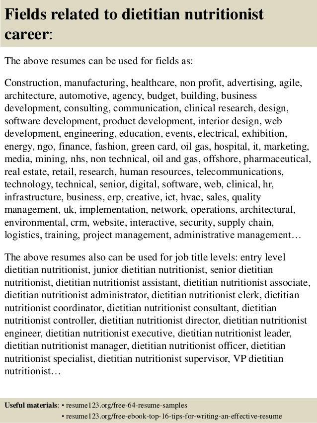 Top Dietitian Nutritionist Resume Samples