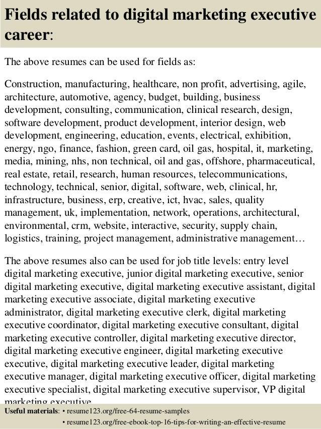 top  digital marketing executive resume samples       fields related to digital marketing executive