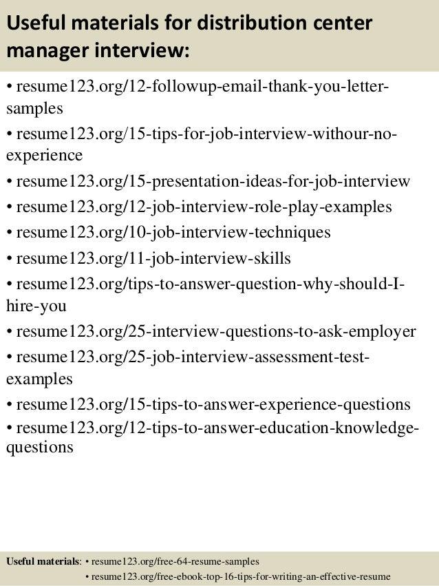 Distribution center management resume