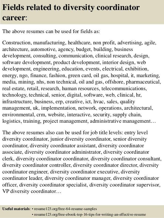 Diversity coordinator resume