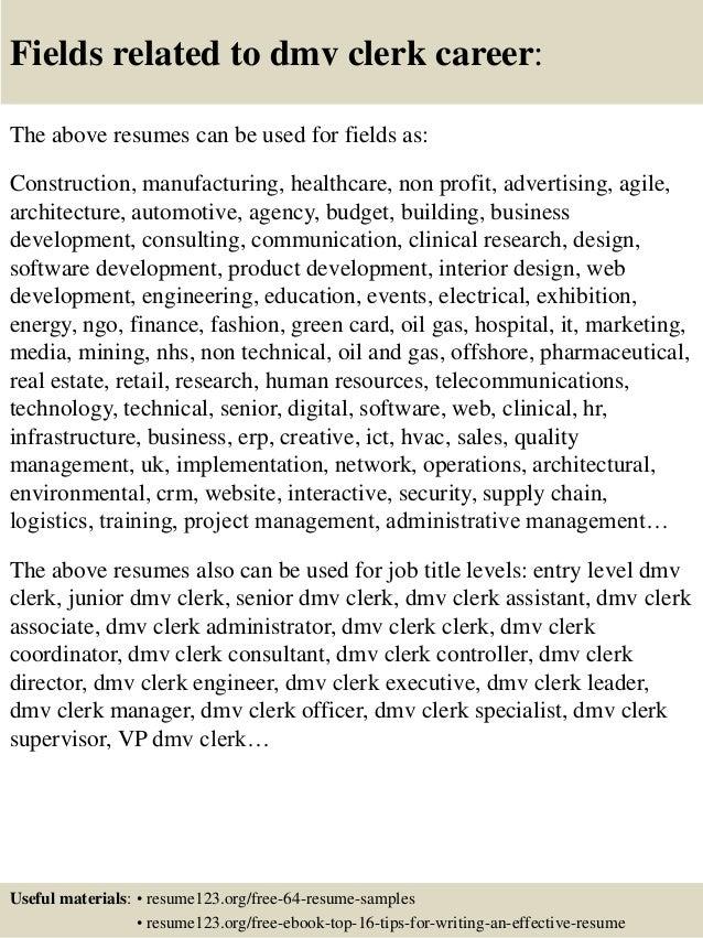 top 8 dmv clerk resume sles