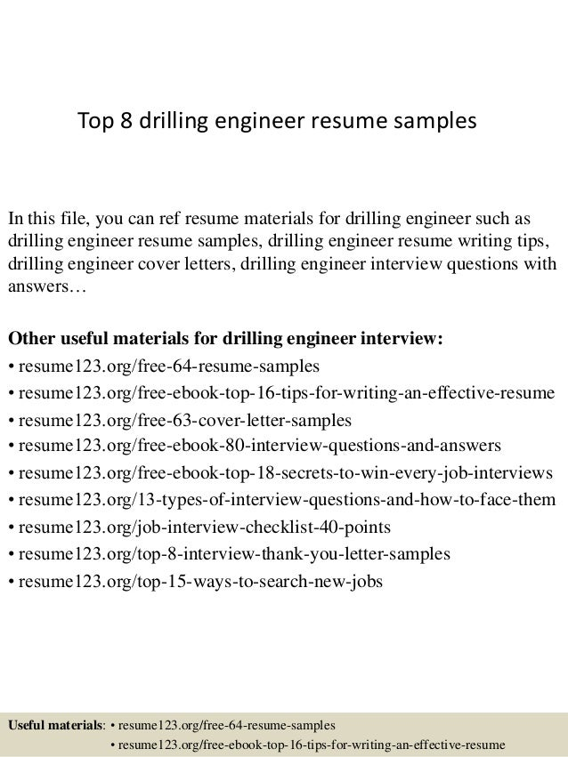 top 8 drilling engineer resume sles