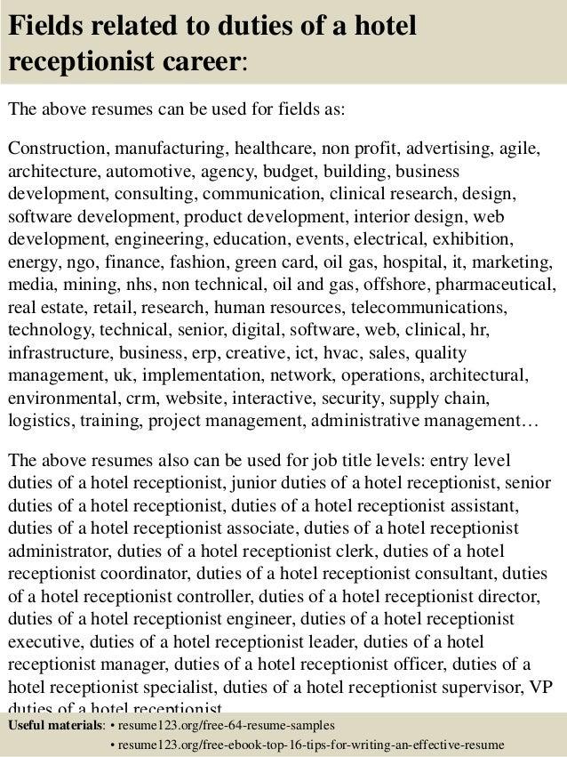 hotel receptionist resume samples