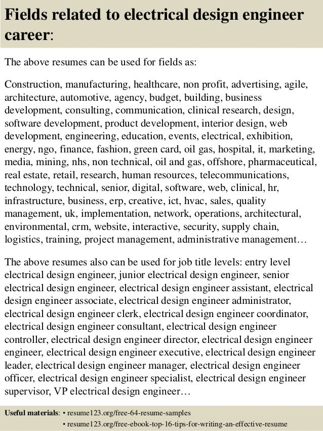 top 8 electrical design engineer resume sles