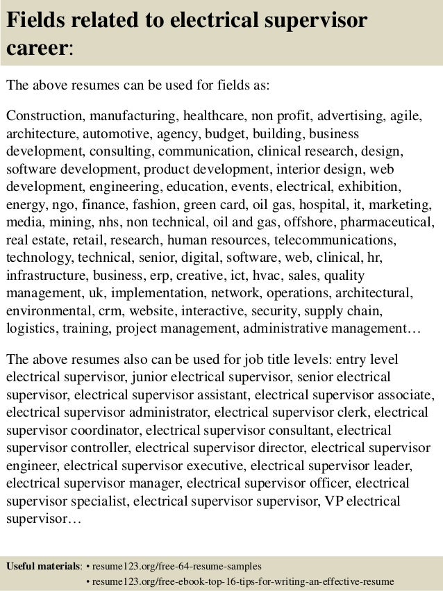 top 8 electrical supervisor resume sles