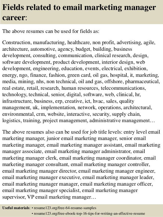 Email Marketer Resume Related to Email Marketing