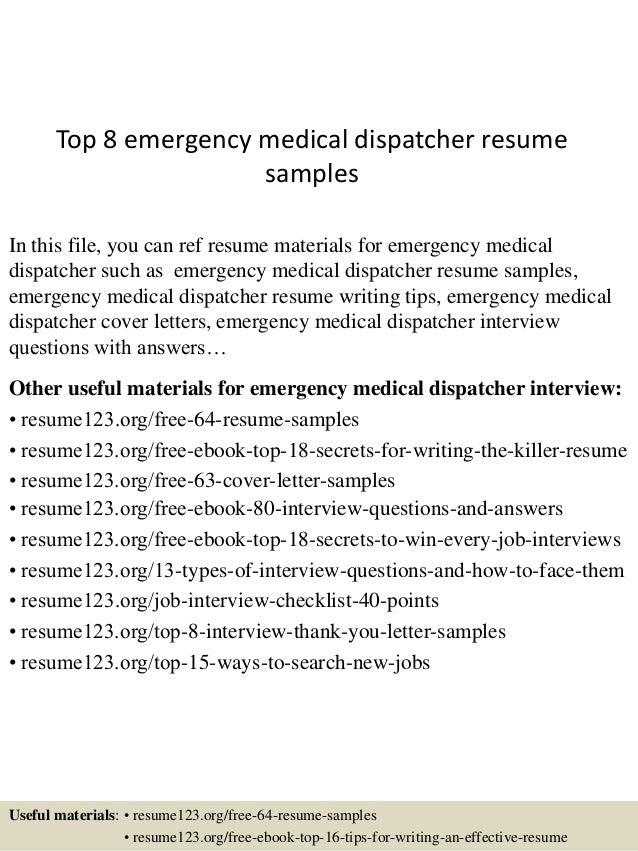 resume for 911 dispatcher