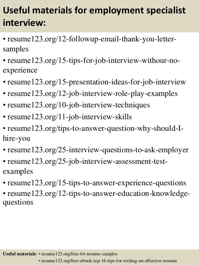 top 8 employment specialist resume sles