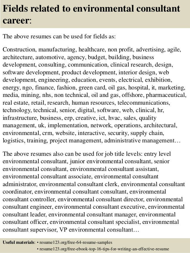top 8 environmental consultant resume samples
