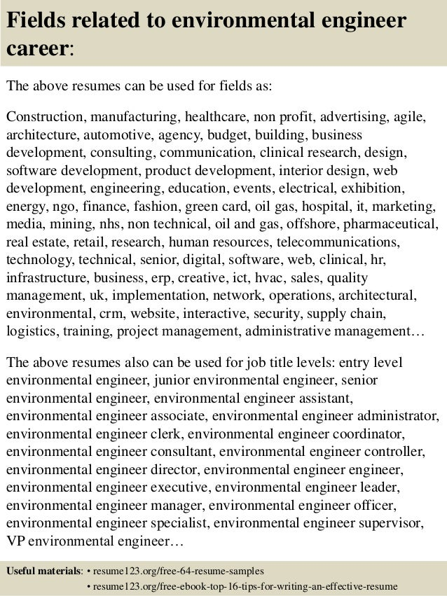 top  environmental engineer resume samples       fields related to environmental engineer