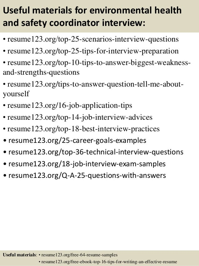 Top 8 environmental health and safety coordinator resume samples