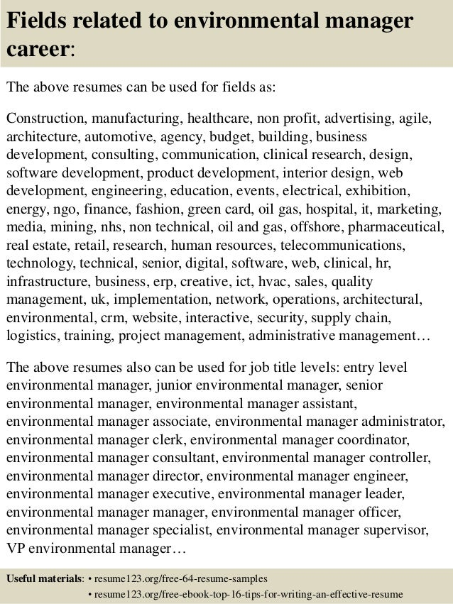 top 8 environmental manager resume sles