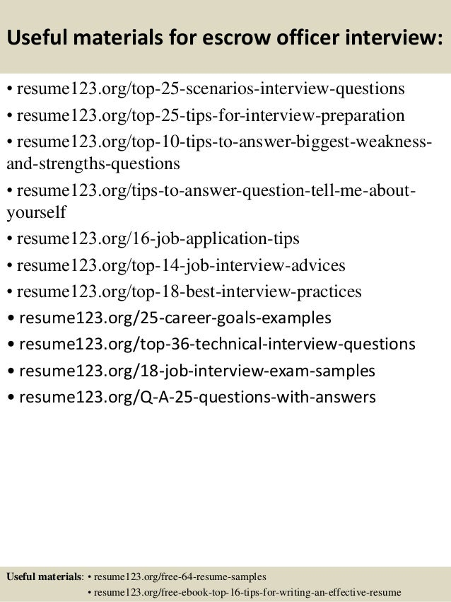 top 8 escrow officer resume sles