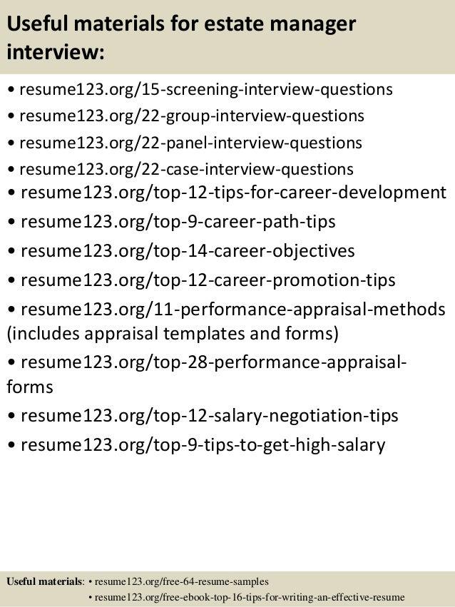 Top 8 estate manager resume samples
