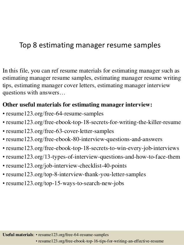 top 8 estimating manager resume samples