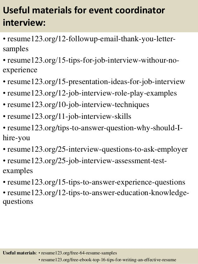 special events coordinator cover letters
