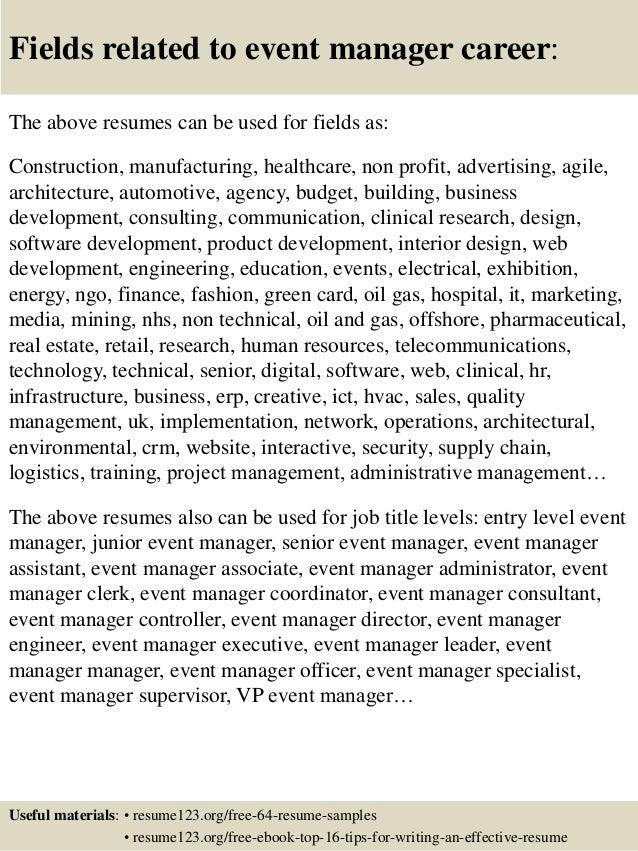 Format of resume for event management