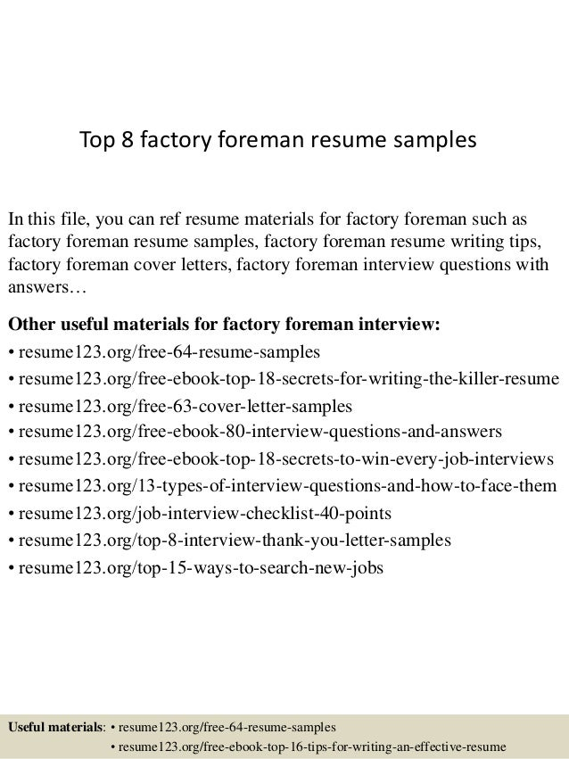 Top 8 factory foreman resume samples