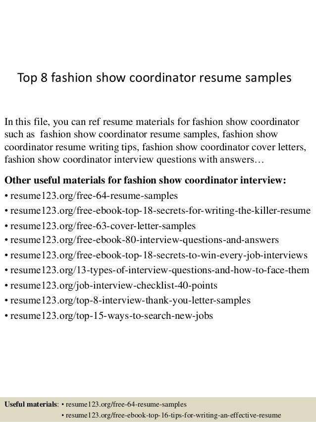 top 8 fashion show coordinator resume samples