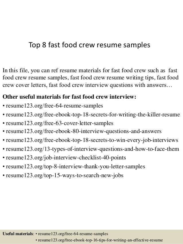 top 8 fast food crew resume sles