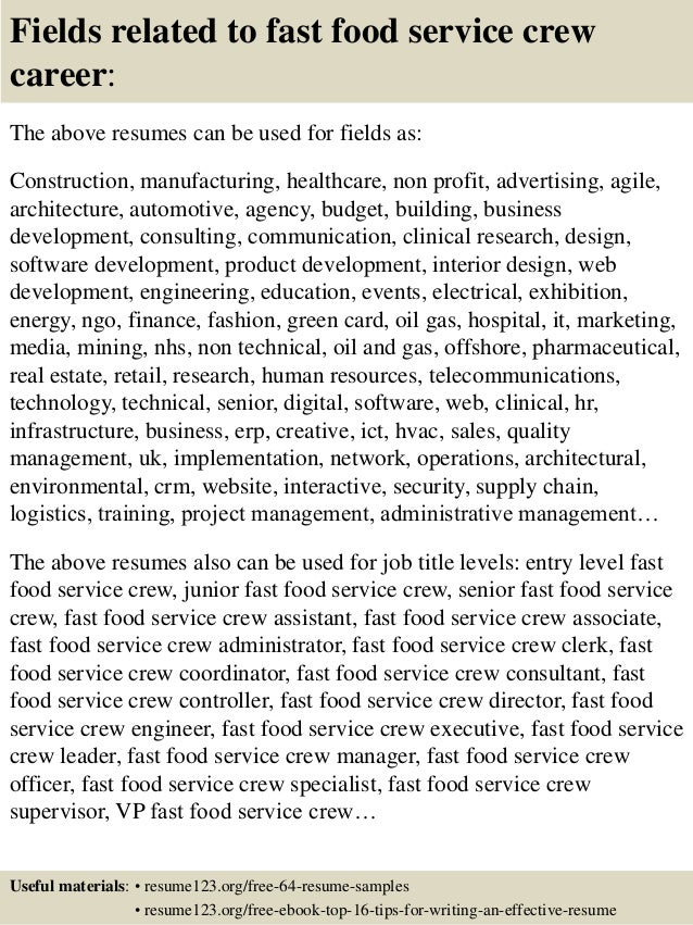 top  fast food service crew resume samples