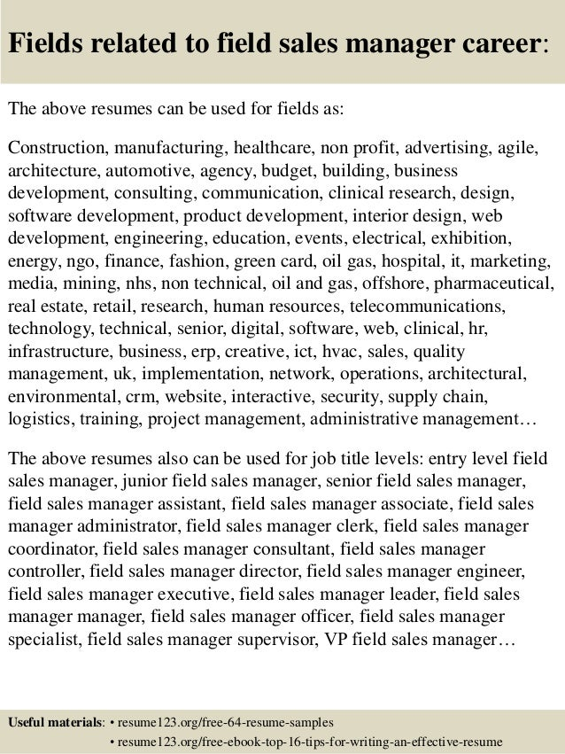 top 8 field sales manager resume samples
