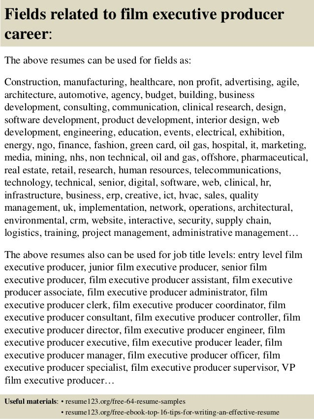film resume sample