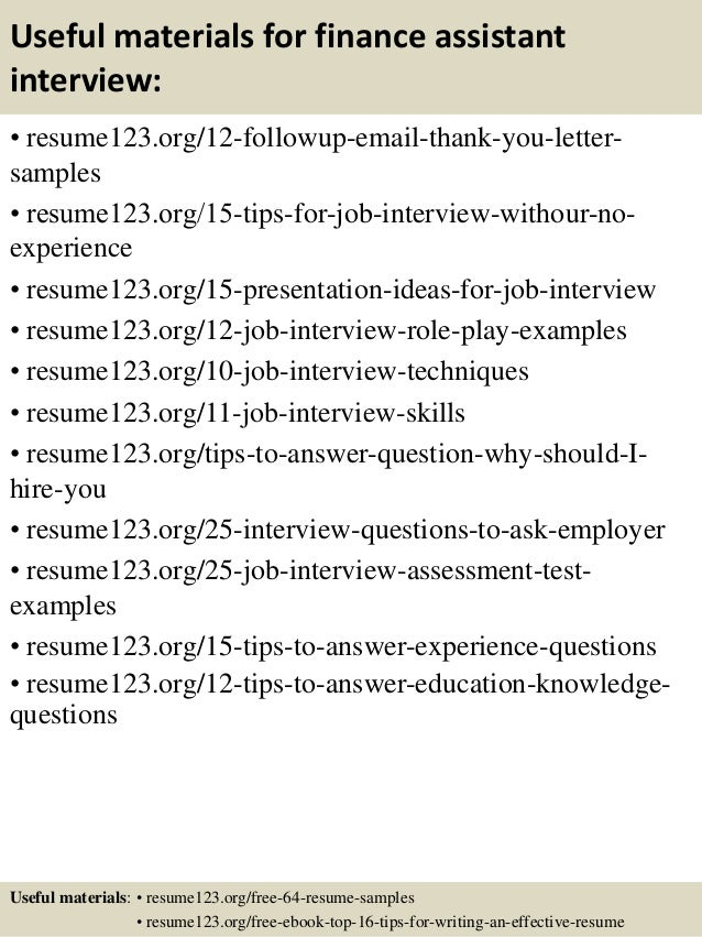 top  finance assistant resume samples       useful materials for finance assistant