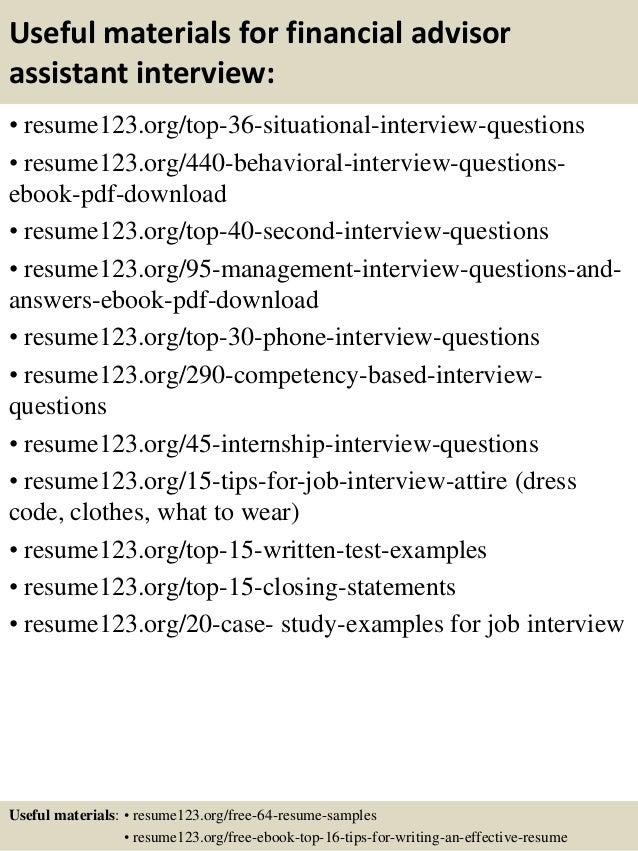 top 8 financial advisor assistant resume sles