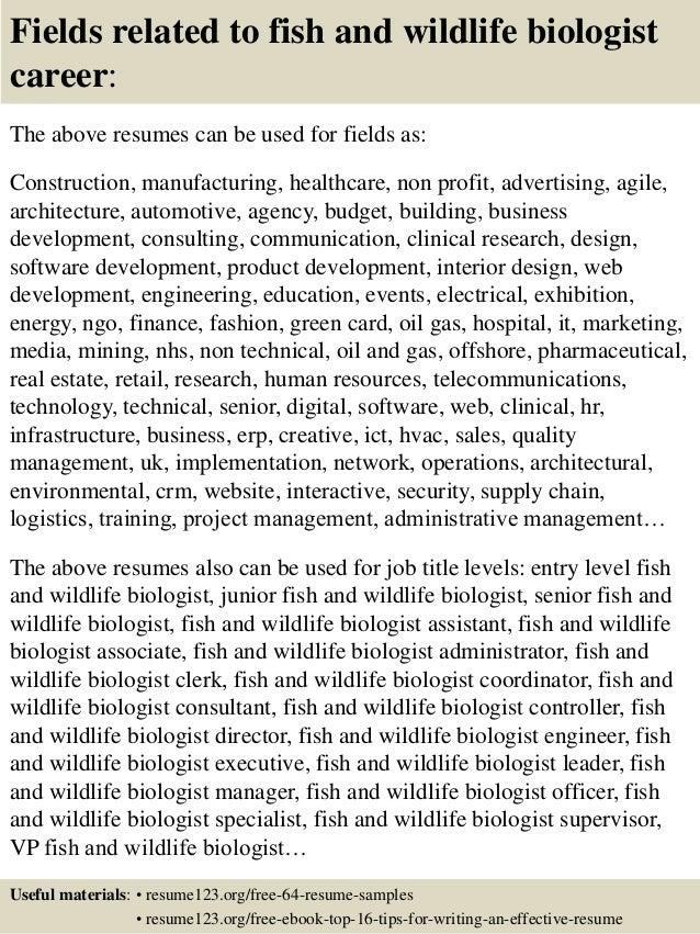Sample resume for wildlife biologist