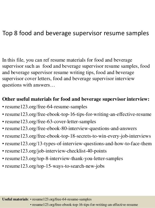 Food supervisor resume