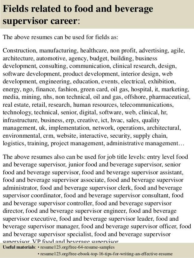top 8 food and beverage supervisor resume sles