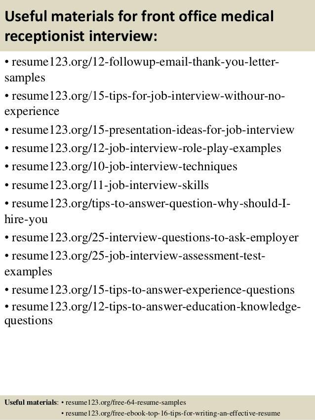 doc.#: sample resume for medical receptionist ? resume sample ... - Resume Examples For Medical Receptionist