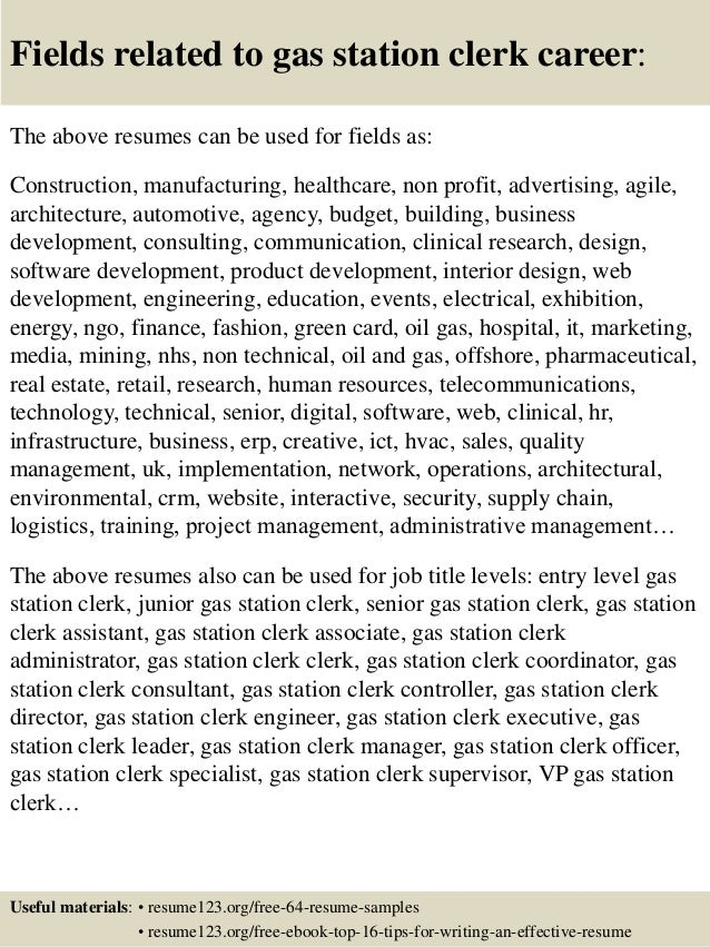 Top 8 gas station clerk resume samples