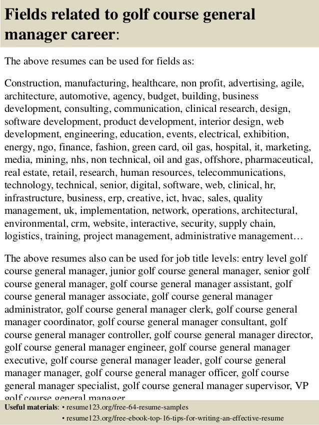 Golf Operations Manager Resume