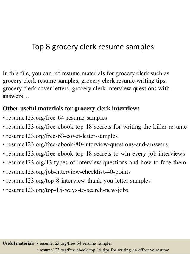 top 8 grocery clerk resume sles