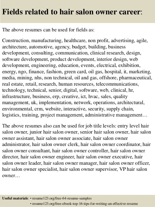 Salon owner resume