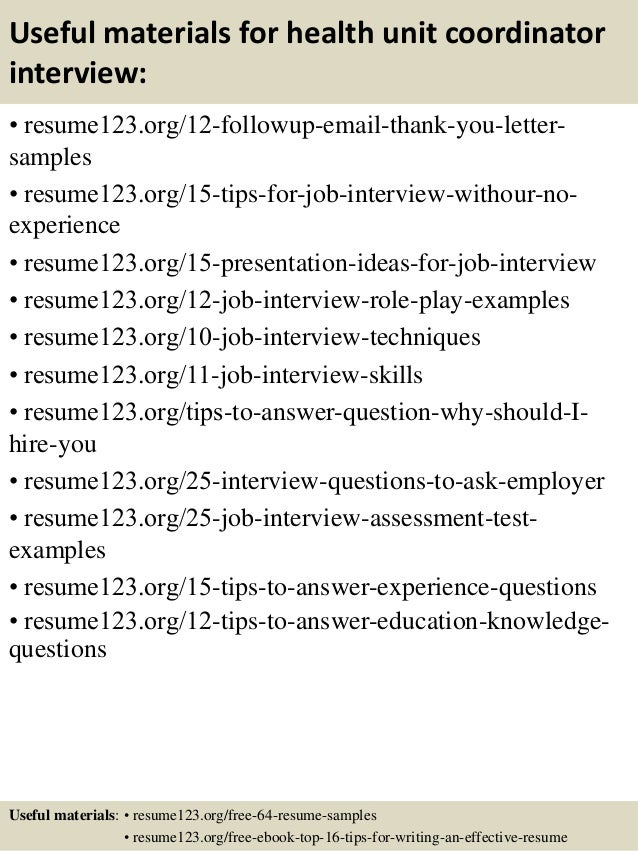 top  health unit coordinator resume samples       useful materials for health unit coordinator