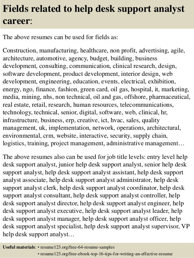 Top 8 help desk support analyst resume samples ... 16. Fields related to help desk support ...