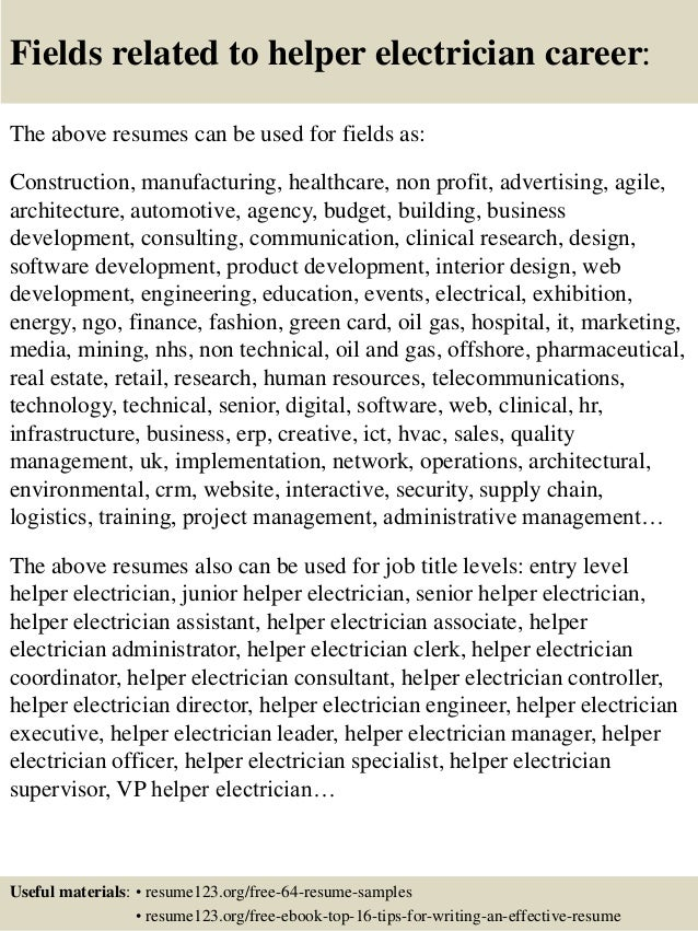fields related to helper electrician career the above resumes can