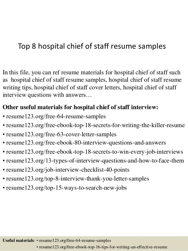 Top 8 hospital chief of staff resume samples