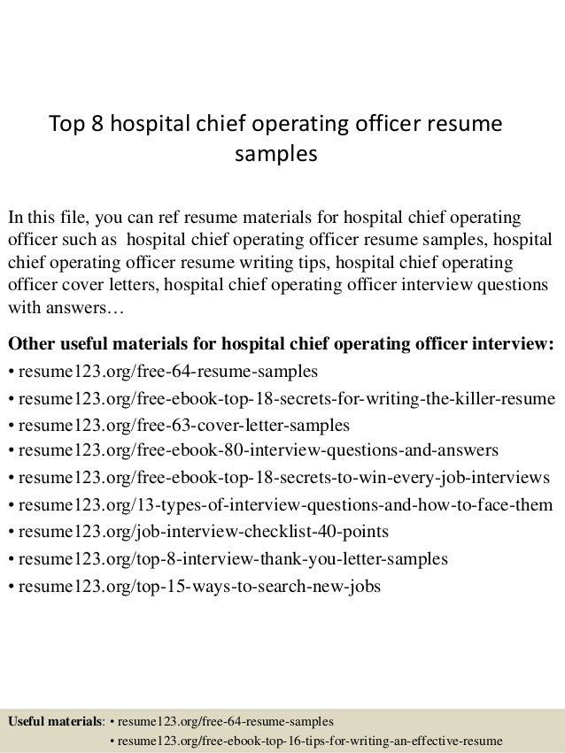 top 8 hospital chief operating officer resume sles