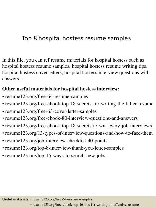top  hospital hostess resume samplestop  hospital hostess resume samples in this file  you can ref resume materials for