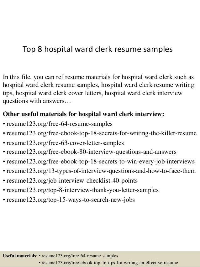 top 8 hospital ward clerk resume sles