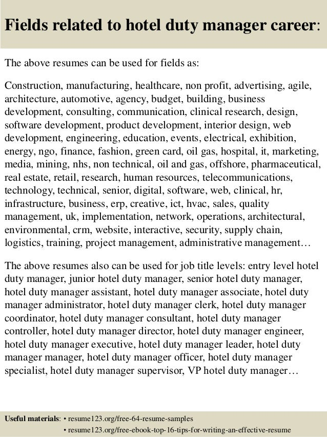 top 8 hotel duty manager resume sles