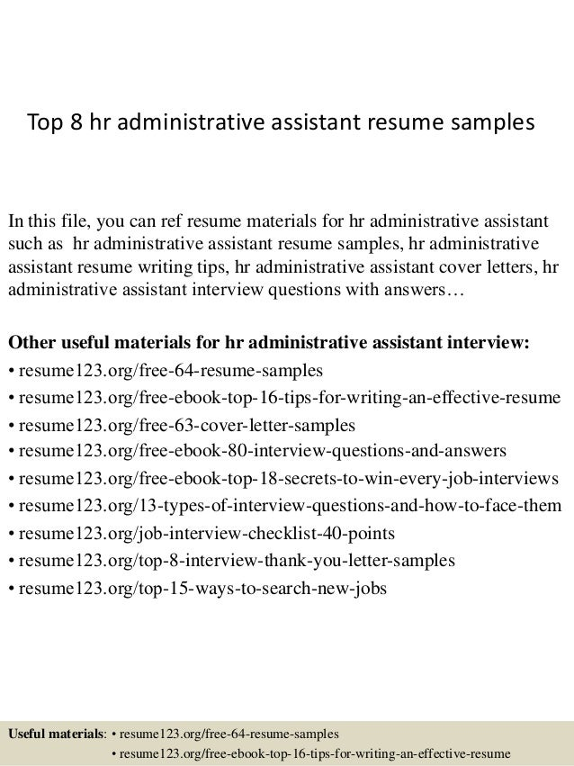 Hr administrative assistant resume sample