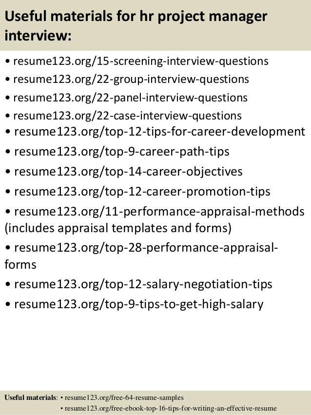 Sample Resume For Hr
