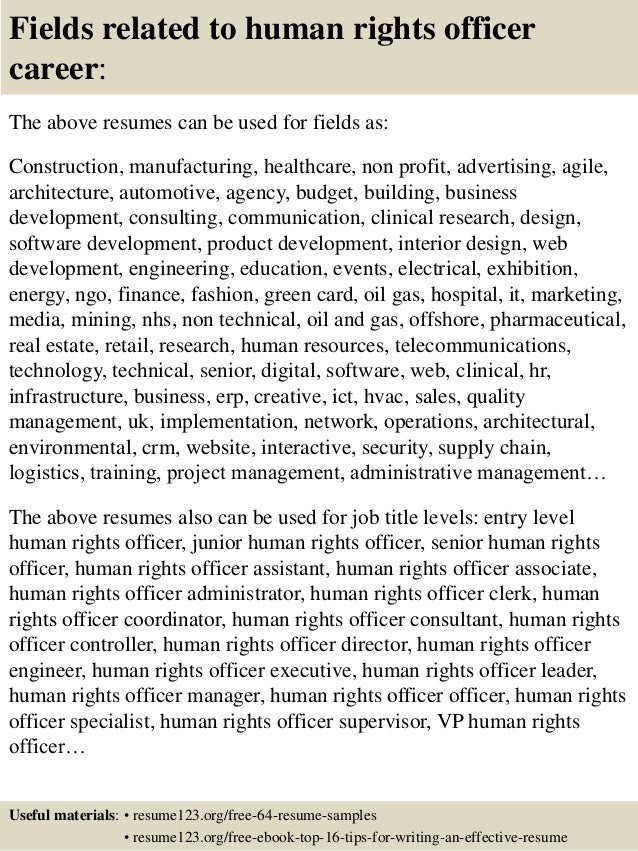 Human rights officer cover letter sample