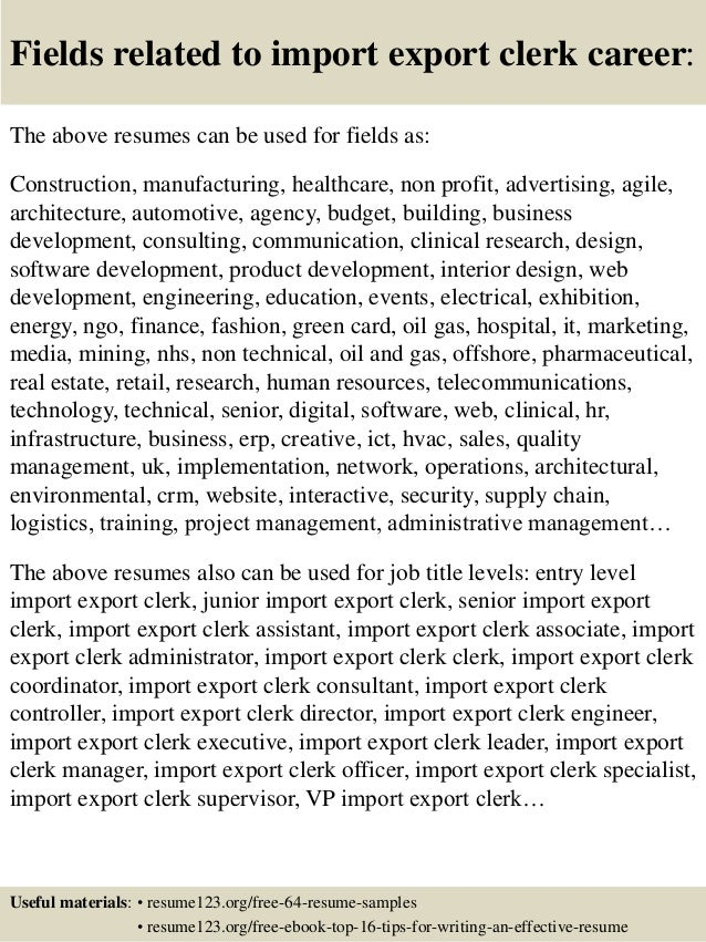 Top 8 import export clerk resume samples