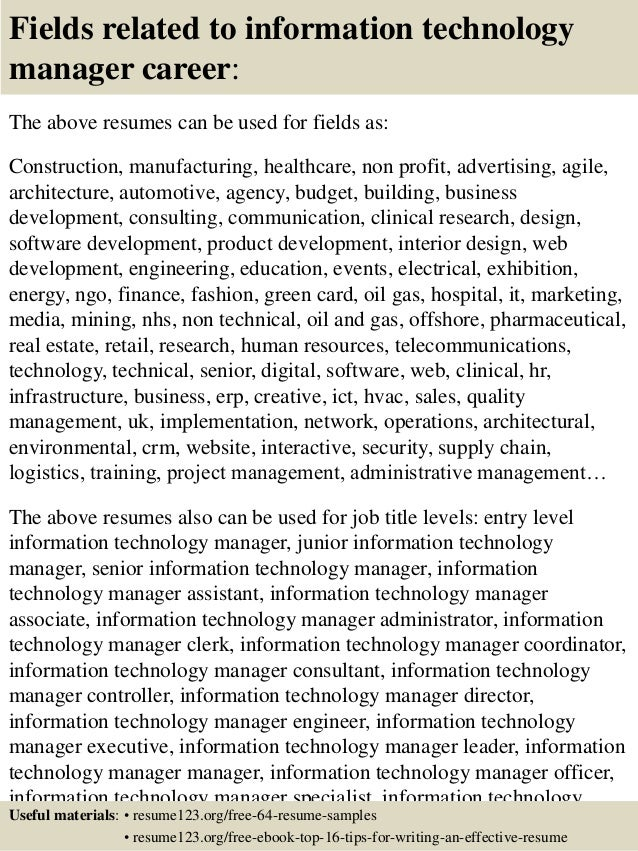 Resume sample technology manager